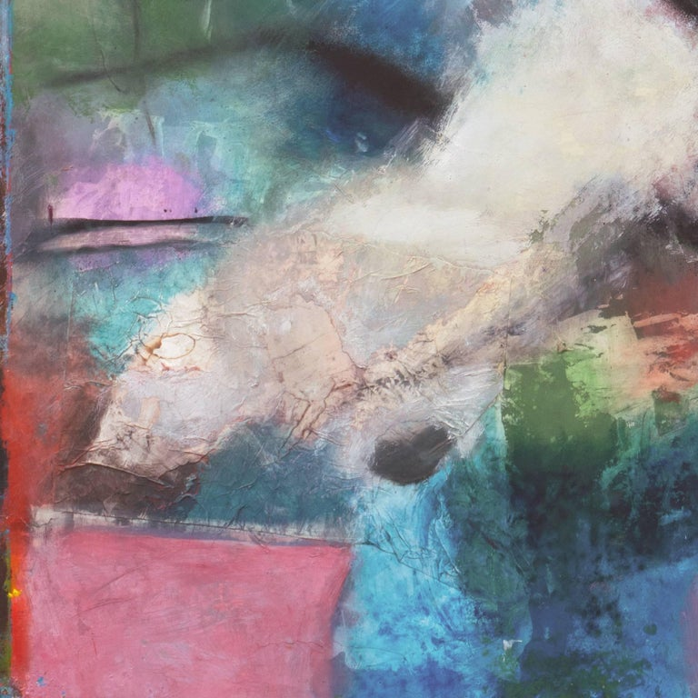 Large Bay Area Oil 'Abstract in Orchid and Jade', San Francisco Art Institute For Sale 2