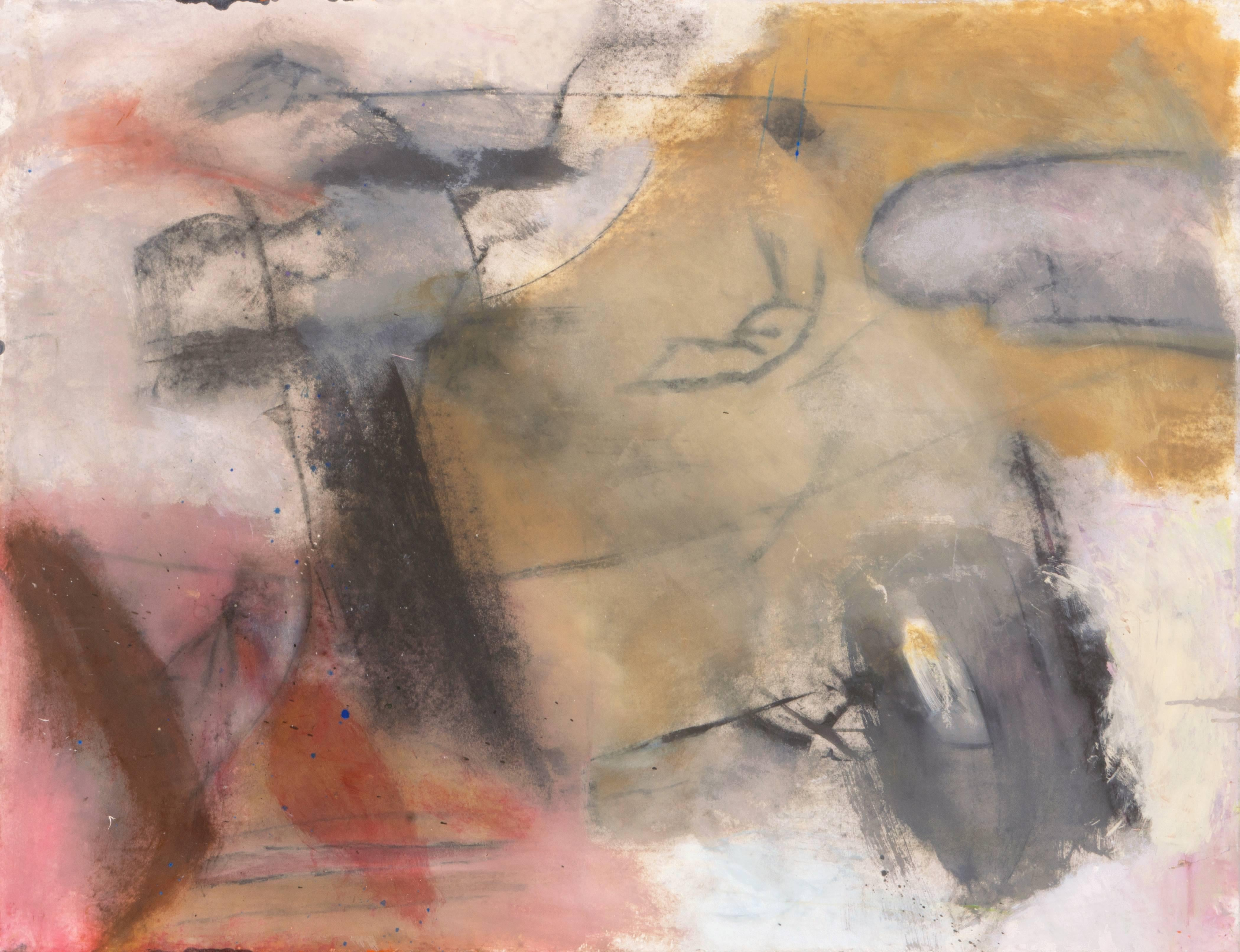 'Abstract in Rose and Gold', Large Bay Area Oil, San Francisco Art Institute