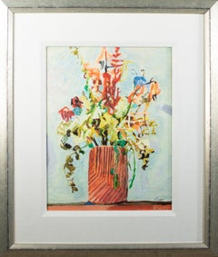 'Dried Flowers in a Stoneware Vase' by Kevin Knopp hand-embellished giclée