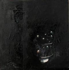 Minimalist  Black Oil Painting, Collage, Mixed Media on Canvas Kevin Larmon