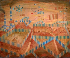 Last Bastion 4, Whimsical Fantasy City Landscape in Orange and Blue