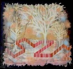 Metaphysical Fence Three, Whimsical Landscape MultiColored Antique Painting