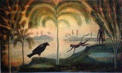 Outskirts, Corvid And Queen, Horizontal Landscape with Bird and Monkey