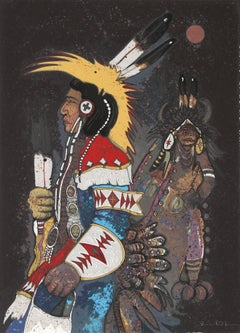 Crow Dancers at Midnight, Signed Serigraph by Kevin Red Star