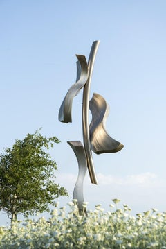 Climbing Ivy - large sweeping elongated forms, stainless steel outdoor sculpture