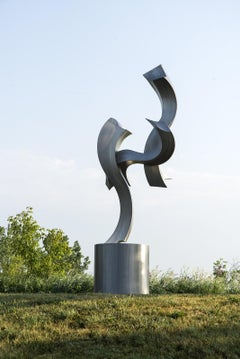 Soaring Embrace - rippling s-curved bands of stainless steel outdoor sculpture