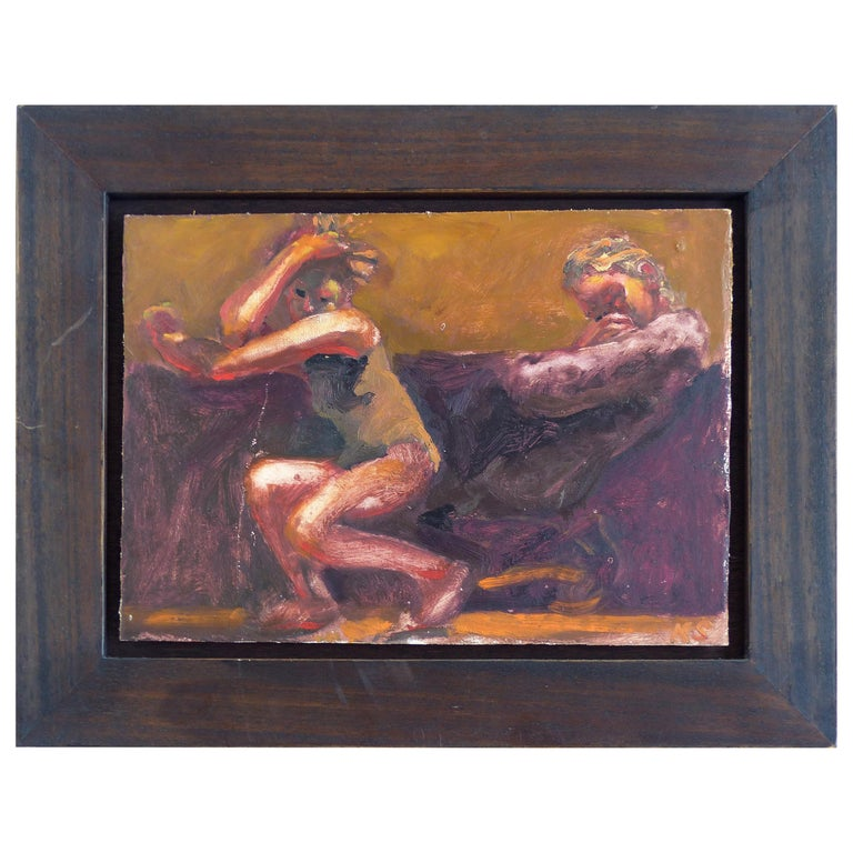 """Kevin Sinnott, Oil Painting on Wood Panel Titled """"Study for a Disco Dancer"""" For Sale"""