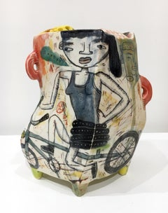 """Cruise Control"", Abstract Porcelain Sculpture with Surface Illustration, Glaze"