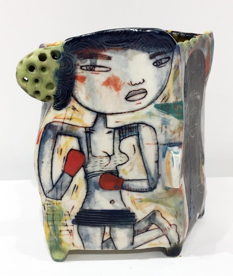 "Kevin Snipes Abstract Sculpture - ""Knuckle Sandwich"" Porcelain Sculpture with Surface Illustration and Underglaze"