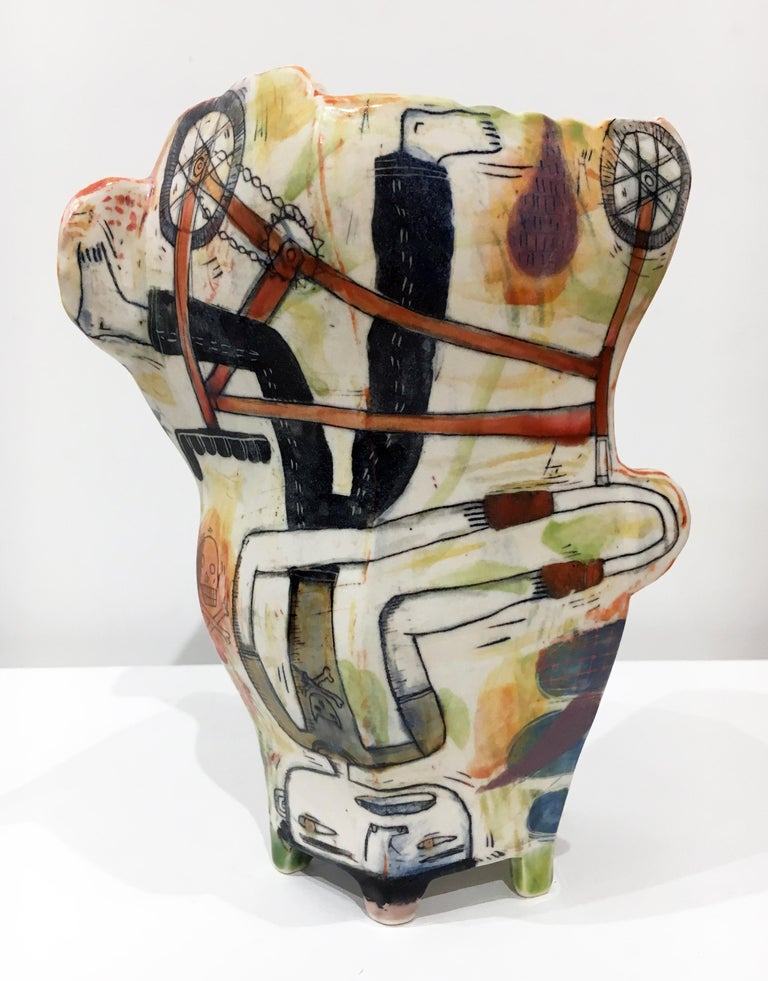 """Kevin Snipes Abstract Sculpture - """"Naked Truth"""", Abstract Porcelain Sculpture, Surface Illustration, Underglaze"""