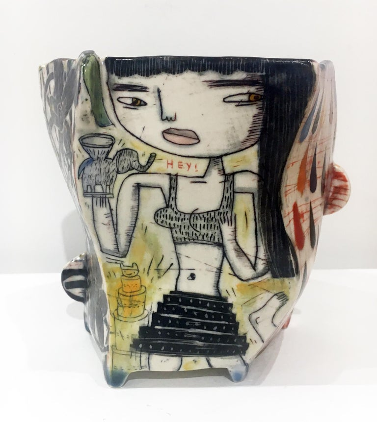 """Kevin Snipes Abstract Sculpture - """"Nike Crop Top"""", Porcelain Ceramic Sculpture with Surface Illustration and Glaze"""