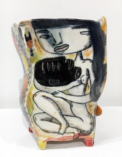 """Suffer Head"", Contemporary Porcelain Sculpture with Illustration and Glaze"