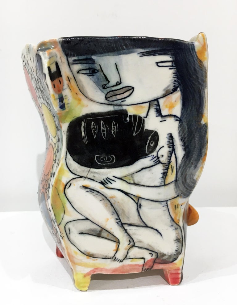 """Kevin Snipes Abstract Sculpture - """"Suffer Head"""", Contemporary Porcelain Sculpture with Illustration and Glaze"""