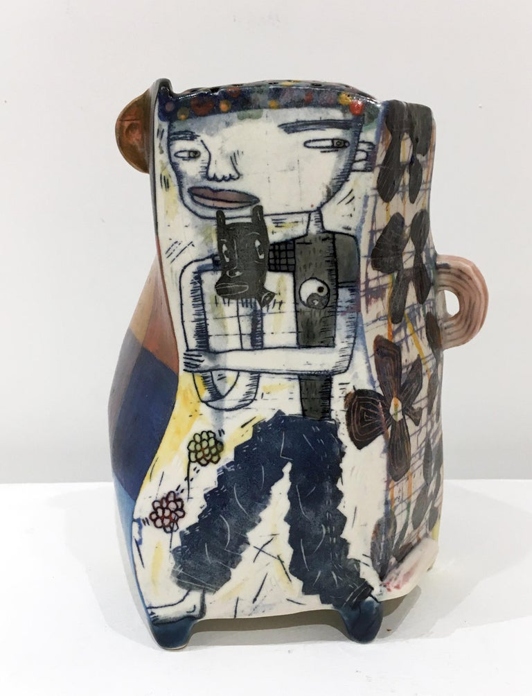 """Kevin Snipes Abstract Sculpture - """"Super Bad"""", Abstract Porcelain Sculpture with Surface Illustration and Glaze"""