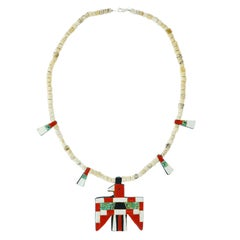 Kewa or Santo Domingo Pueblo Necklace, circa 1920s