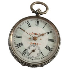 Key-Wind Victorian Period Silver Pocket Watch with Mint Green Enamel Dial