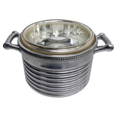 Keystoneware Chrome Ice Bucket Silver Rope Twist Handles USA, 1960s, Vintage
