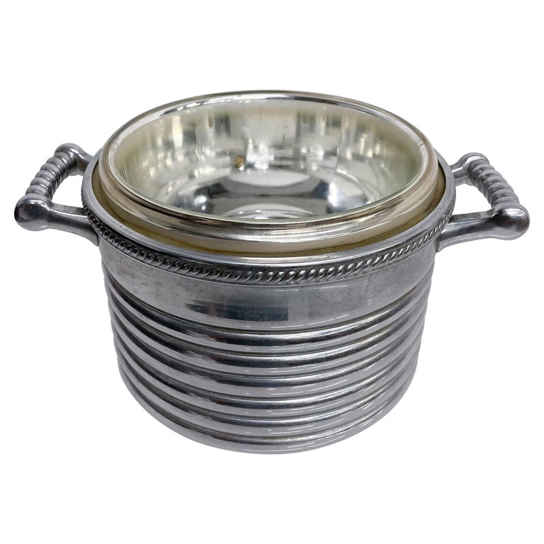 Keystoneware Chrome Ice Bucket Silver Rope Twist Handles USA, 1960s, Vintage For Sale
