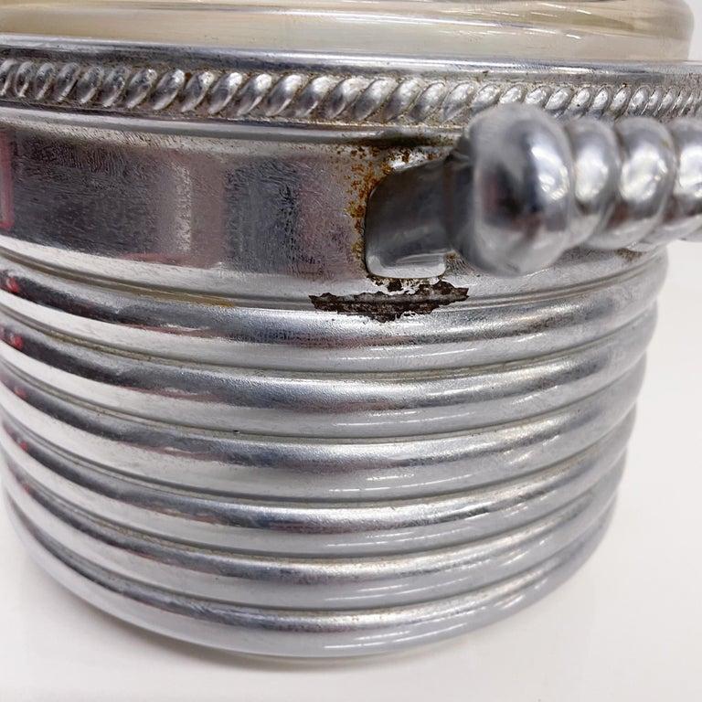 Mid-Century Modern Keystoneware Chrome Ice Bucket Silver Rope Twist Handles USA, 1960s, Vintage For Sale