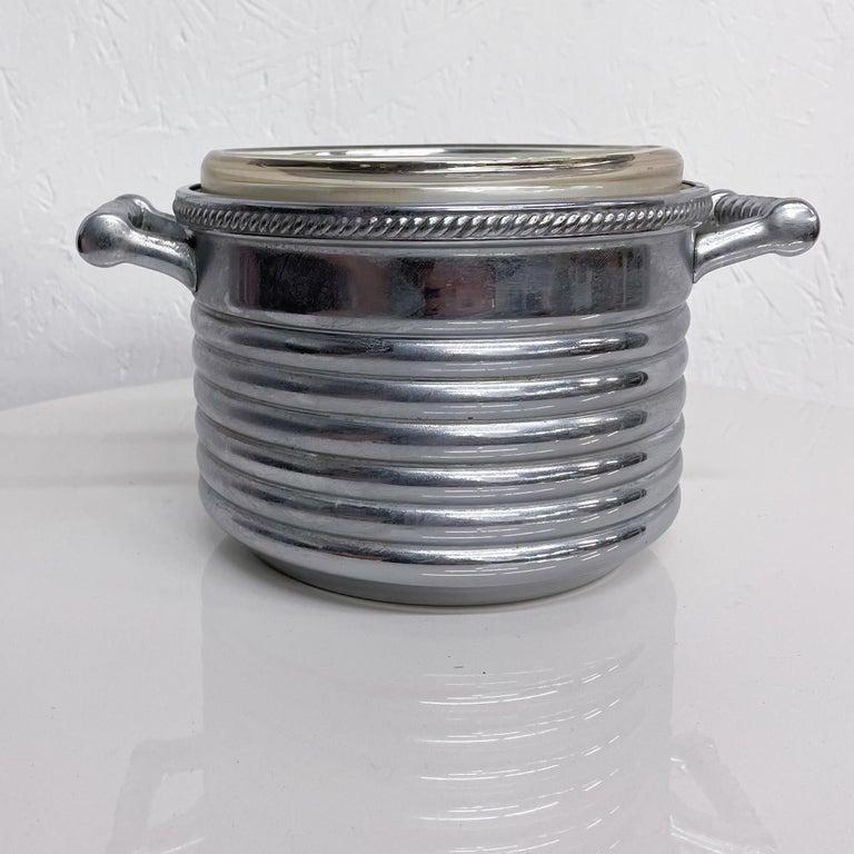 Mid-20th Century Keystoneware Chrome Ice Bucket Silver Rope Twist Handles USA, 1960s, Vintage For Sale