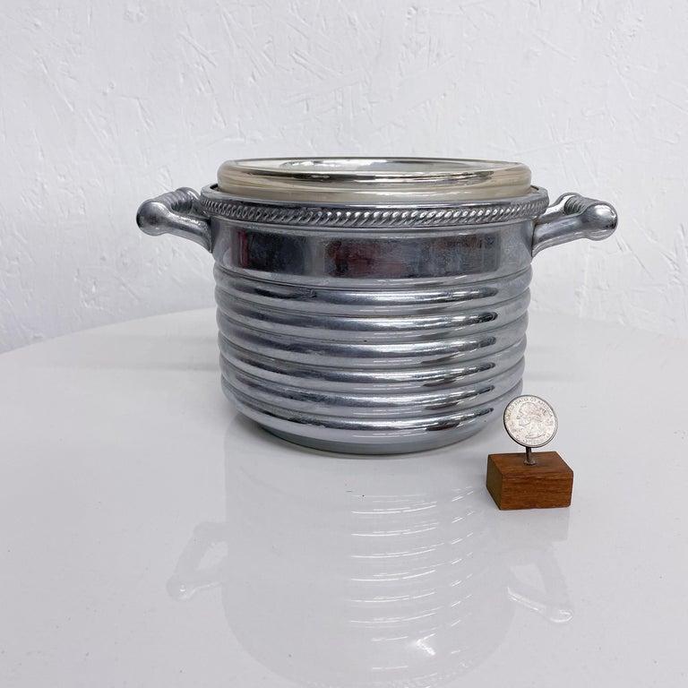 Keystoneware Chrome Ice Bucket Silver Rope Twist Handles USA, 1960s, Vintage For Sale 1