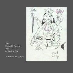 """Devi, Charcoal & Pastel on Paper by Modern Indian Artist """"In Stock"""""""
