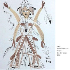 """Devi, Watercolour on Paper by Modern Indian Artist """"In Stock"""""""