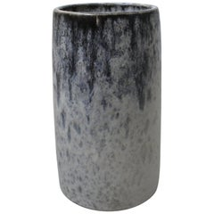 KH Würtz Brush Pot Vase in White and Blue Glaze
