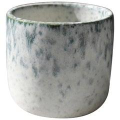 KH Würtz Short Brush Pot Vase in Peacock Blue Glaze