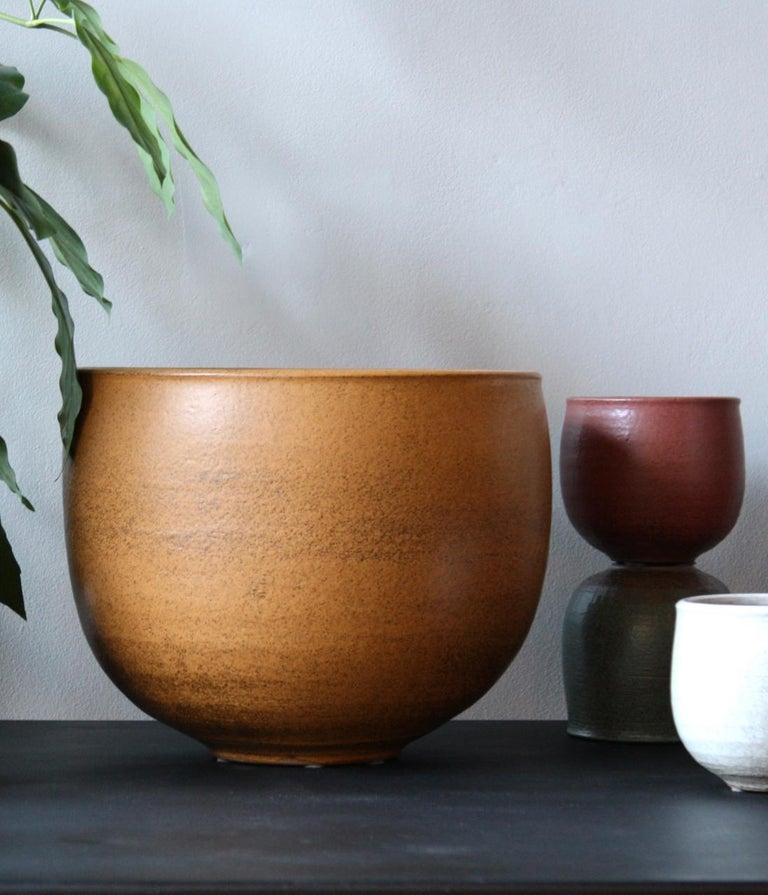 Ceramic KH Würtz X-Large Planter in Orange Glaze For Sale