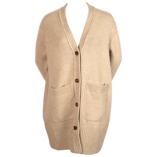 KHAITE 'LUCIA' oversized cashmere cardigan sweater with patch pockets in sand
