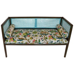 Khaki & Blue Lacquered Wood & Rattan with Pink, Yellow & Green Upholstery Settee
