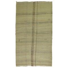 Khaki Brown Minimalist Abstract Turkish Kilim Flat-Weave