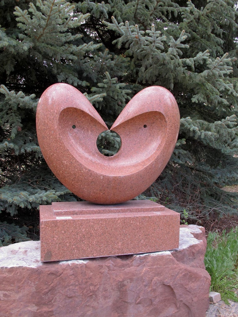 Matrimony, red granite sculpture, heart, by Khang Pham-New, indoor, outdoor  For Sale 1