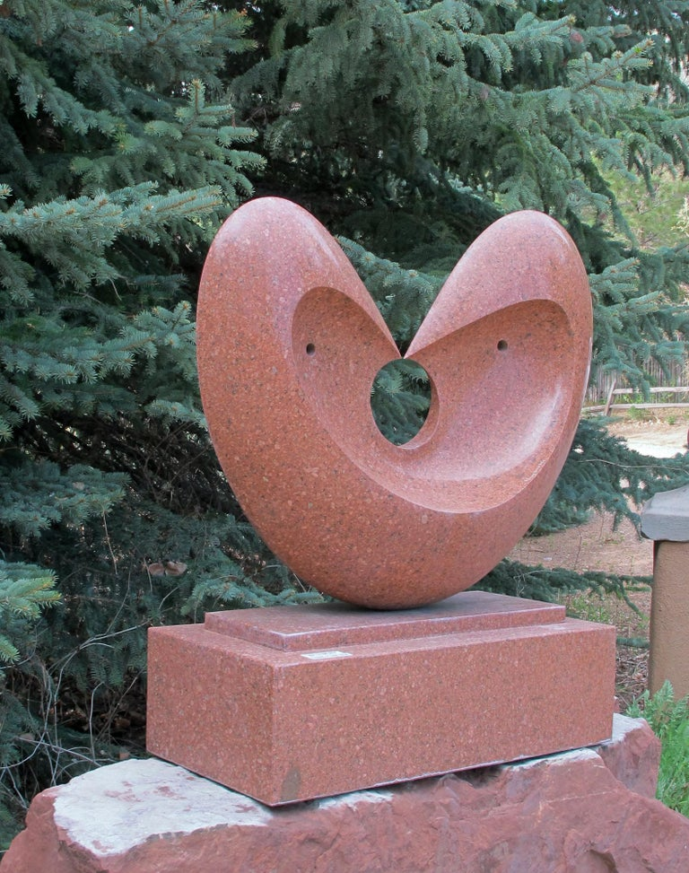 Matrimony, red granite sculpture, heart, by Khang Pham-New, indoor, outdoor  For Sale 2