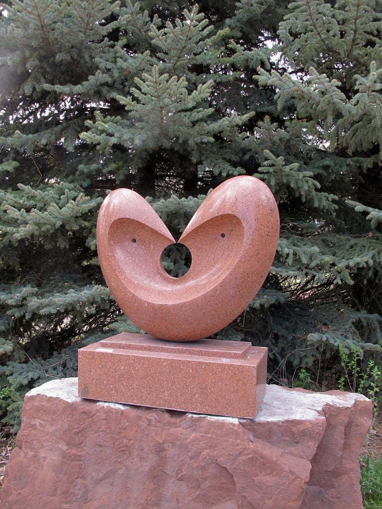 Matrimony, red granite sculpture, heart, by Khang Pham-New, indoor, outdoor  For Sale 3