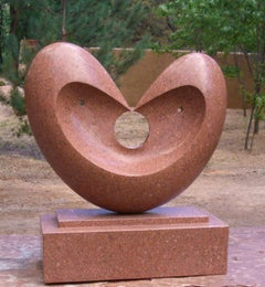 Matrimony, red granite sculpture, heart, by Khang Pham-New, indoor, outdoor