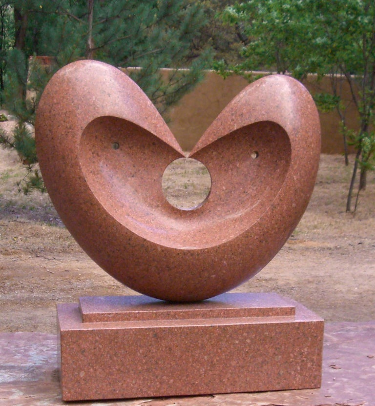 Matrimony, red granite sculpture, heart, by Khang Pham-New, indoor, outdoor   Contact us about delivery options.