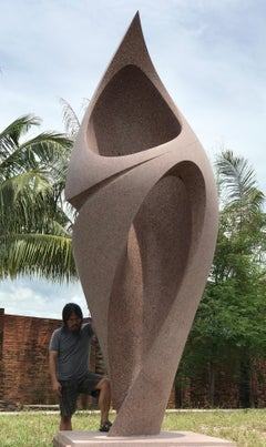 Silhouette Embraced, Khang Pham-New, monumental abstract red granite sculpture