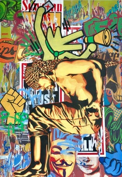 Podium - Colorful, Edgy Pop Art Meets Street Art Original Painting with Graffiti
