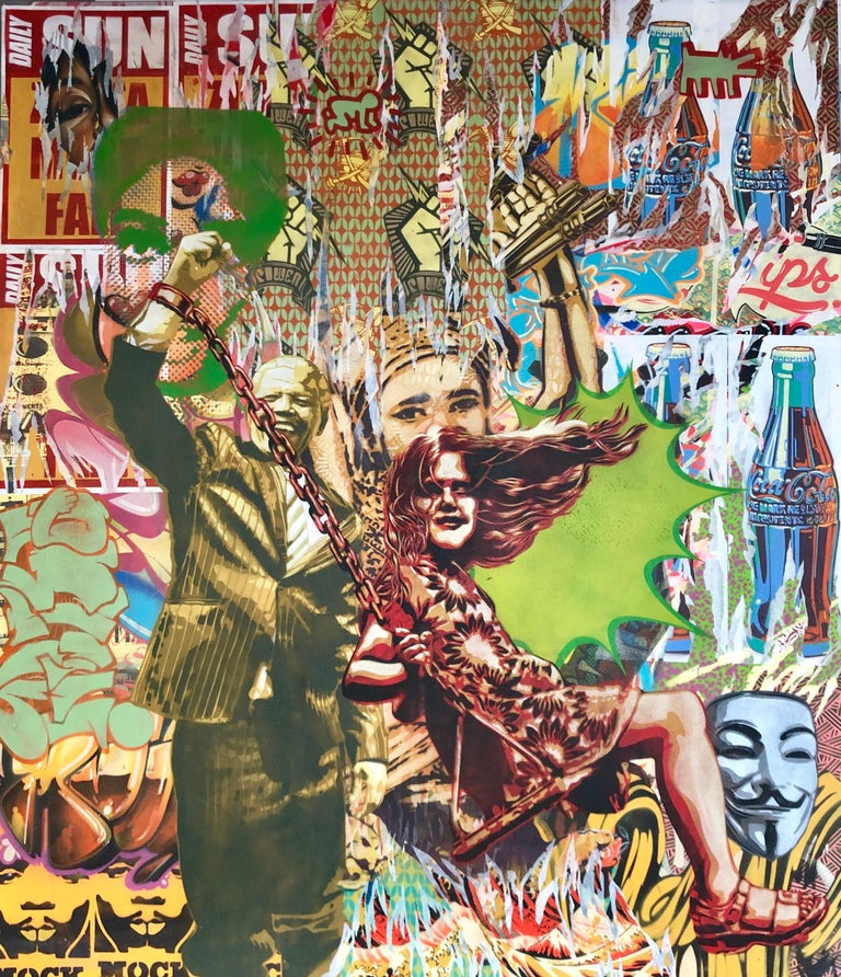 Power To The People Colorful Edgy Pop Art Meets Street Art Original Painting