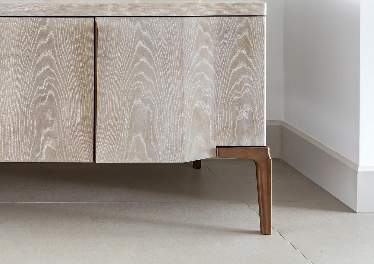 Credenza Contemporary : Khepera credenza contemporary media console in aged oak bronze