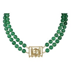 Khepri Jade Necklace, 18 Karat Gold Plated