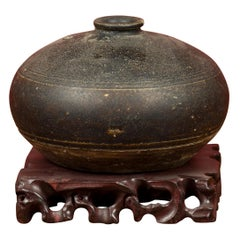 Khmer Angkor Period 12th Century Black Glazed Ceramic with Concentric Lines