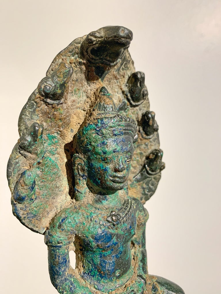 Khmer Bronze Buddha with Naga, Angkor Period, Style of the Bayon, 14th Century For Sale 5