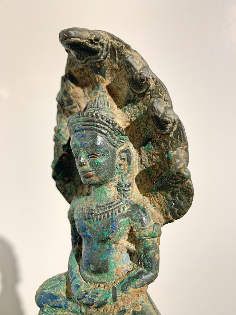 Khmer Bronze Buddha with Naga, Angkor Period, Style of the Bayon, 14th Century For Sale 6