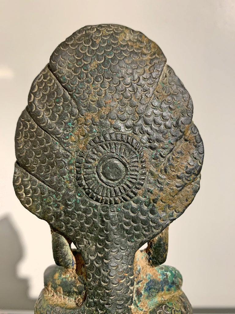 Khmer Bronze Buddha with Naga, Angkor Period, Style of the Bayon, 14th Century For Sale 8