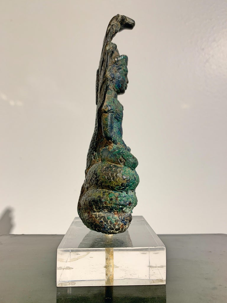 Cambodian Khmer Bronze Buddha with Naga, Angkor Period, Style of the Bayon, 14th Century For Sale