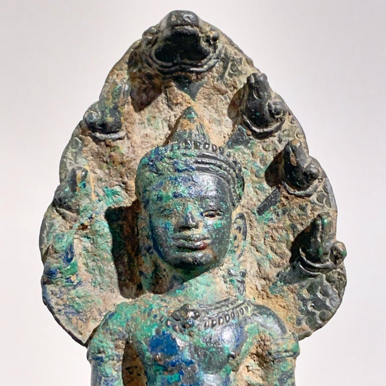 Khmer Bronze Buddha with Naga, Angkor Period, Style of the Bayon, 14th Century For Sale 1