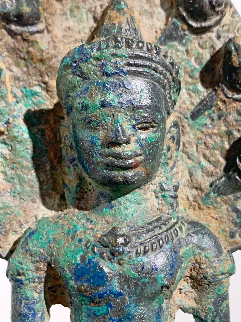 Khmer Bronze Buddha with Naga, Angkor Period, Style of the Bayon, 14th Century For Sale 3